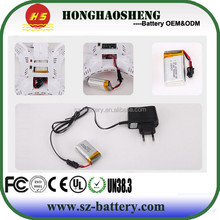 RC helicopter battery 802540 rechargeable lipo battery 802540 3.7v 600mah with battery charger