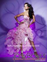 Nuevo diseño y caliente de color rosa hi-lo tony boles/cuencos vestido de fiesta