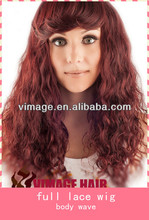 lace front and full lace humnan hair short party red hair wigs