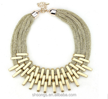 2015 Fashion Necklace Charm Chain Statement Bib Necklace Matte Gold Plated Necklaces Jewelry For Women