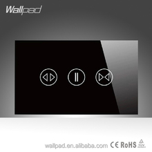 2015 Wallpad LED Black Crystal Glass 110~250V US/Australia Standard Electrical Soft Touch Power Window Curtain Blinder Switch