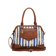Casual Style Vertical Strips Lady Canvas Tote Bag with Shoulder Strap