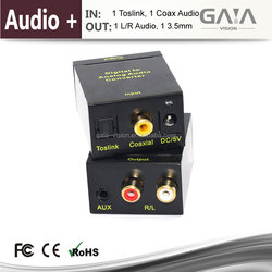 Digital Toslink to Analog Audio Converter Adapter - for either Home or Professional Audio Switching Optical Coaxial to RCA