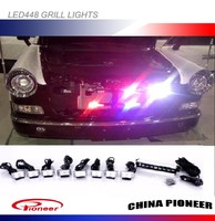 Front grill strobe lights white, blue, red, amber green Led
