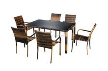 garden furniture dining set table not full weaving black printed glass