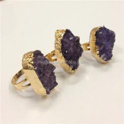 R043 Amethyst Quartz Ring .Gold Plated Ring . Amethyst Crystal Ring Jewelry
