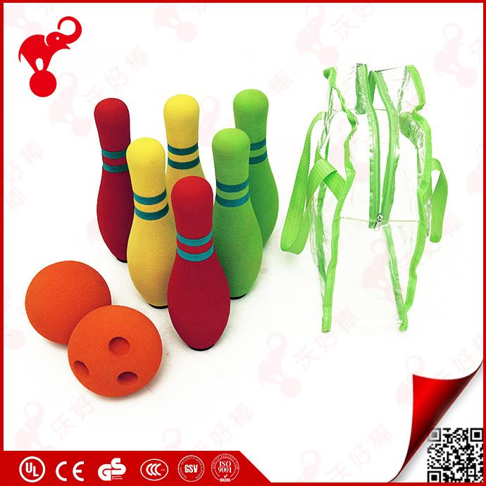 Nuovi prodotti 2017 bambini sporting giocattolo di colore gomma NBR foam birilli e palla