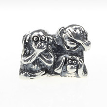 Wholesale 925 Sterling Silver Charm Animal Hear No Evil, Speak No Evil, Say No Evil Monkey for 3mm Thick European Bracelet