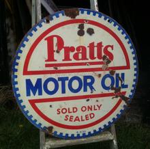 PRATTS MOTOR OIL enamel sign board, decorative board, signpost