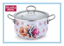 Batería de cocina munika ollas de sopa de olla de valores, hermosa flor de ollas de cocina con capa de esmalte