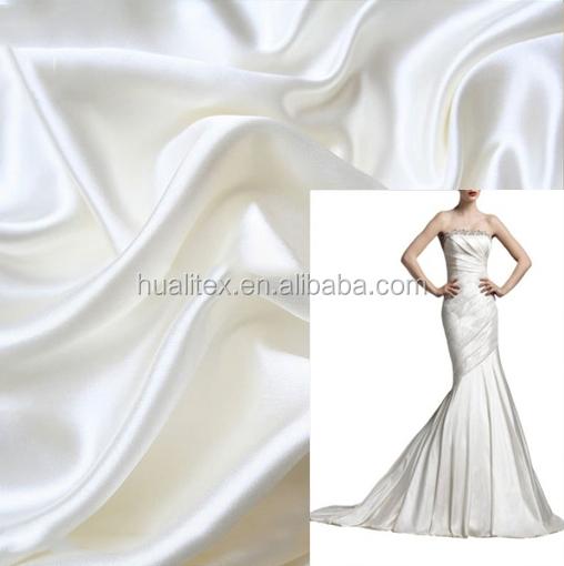 100% <span class=keywords><strong>poliester</strong></span> tela satén/tela satén blanco de novia de prendas de vestir