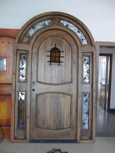 Promotion !!! Rustic Alder/mahogany arched top wood entry door