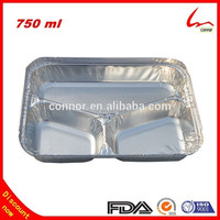 Restaurant Use Rice Cooked Rectangular 3 Compartments Aluminum Foil Food Storage Tray