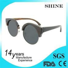 Half-Frame Metal Hinge Wooden Sunglasses