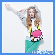 HOGIFT Hot 3D Style 2D Cartoon Paper Bag Comic 3D Messenger Bag
