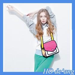 HOGIFT Hot 3D Style 2D Cartoon Paper Bag Comic 3D Messenger Bag