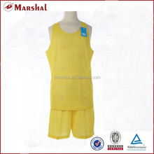 In stock double sides top quality basketball uniform yellow