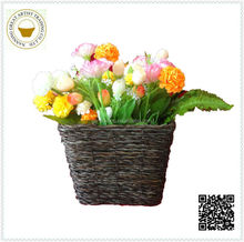 wholesale black suqare bamboo artificial floral basket popular