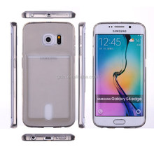 Ultra thin TPU case cover with bank card for Samsung Galaxy S6 Edge