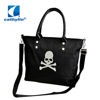 2015 New Hot Selling Free Ship Big Size Skull Printing Features Factory Wholesale China Lady Bag Women Leather Tote Handbag bags