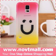 Color Changing Cartoon Smiling Face Back Over Cover for Samsung S5, Plastic Cell Phone Case for Galaxy S5