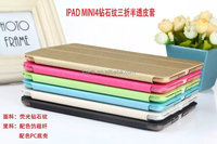Luxury Stand Leather Case For iPad Mini 4 Diamond Pattern Half Transparent Cover