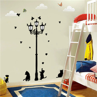 Colorcasa new product 030 cats&street light 3D PVC wall paper art wall decal removeable wall sticker for living room