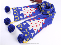 christmas tree knitted scarf for kids wholesale with wool ball