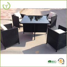 Garden Furniture Cube Set Rattan 4 Seater Outdoor Dining Table Chair