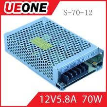 ac/dc power supply single output 12v 6a 70w led power supply switch