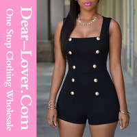 2015 clothing manufacturers women Black Gold Buttons Romper india wholesale clothing