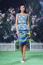 Fashion boat neck mature ladies dresses knee length lace and blue silk satin dress styles china dress manufacturer