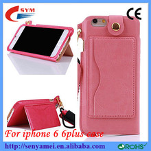 New Fashion Top Leather Credit Card Holder Case For iPhone 6 Stand Back Cover with Hand Strap