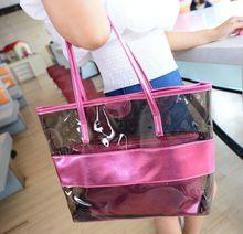 2015 Popular clear PVC ladies zipper waterproof beach tote bag