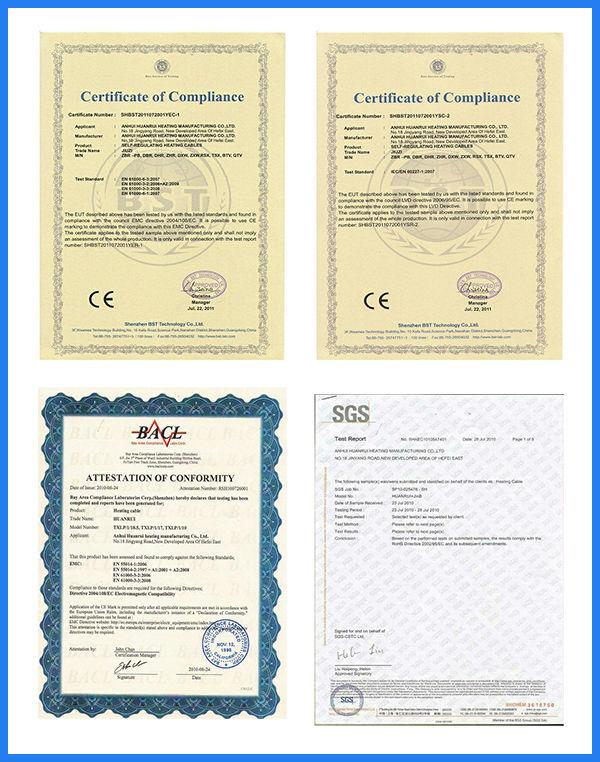 Self-regulating Temperature Electric Heat Cable certificate.jpg