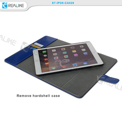 Luxury pu leather wallet cover case for ipad air 2, For ipad 6 cover case