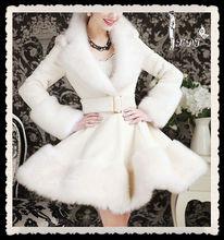 elegant white long rex rabbit fur coat