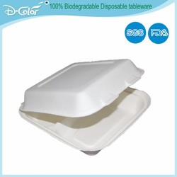 Disposable food packaging box sugarcane pulp white fast food containers