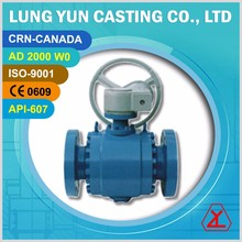 Gear operated forged steel trunnion type mounted top entry ball valve