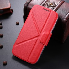LETSVIEW Ultra Thin Luxury Durable Soft TPU Flexible Back Cover Stand Smart Leather Cases Shell Housing for Samsung Galaxy S4