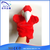 Factory custom kids 26cm stuffed parrot soft animal animal baby toy hand puppet