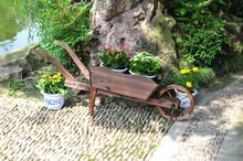 wooden cart planter, flower pot & planter carrier ALS-2104