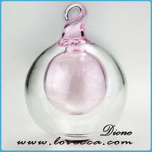 Hot Sale Double Pink Glass Christmas Decoration Balls