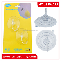 popular easy eusing clear plastic bathroom decorative small suction cups hook for clothes