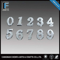 Design 3D adhesive ABS plastic chrome number stickers