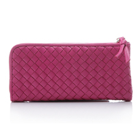 big capacity half zip colourful genuine leather fashion wallet woven purse lady/girl/women hand crafted genuine leather wallet