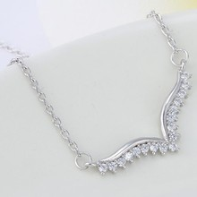 ODM/OEM Jewelry Factory Delicate zircon wings pandent necklace, double wing necklace, light weight gold necklace set