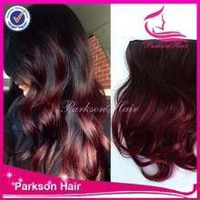 High quality hair product malaysian hair red ombre clip in hair extension