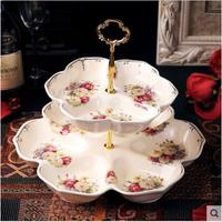 Double layer European fruit plate craft ceramic home decoration with handle