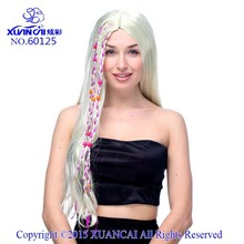 Hot beauty 2015 white Fluffy long straight synthetic hair wigs with some red to dress up cheap for the style and new design